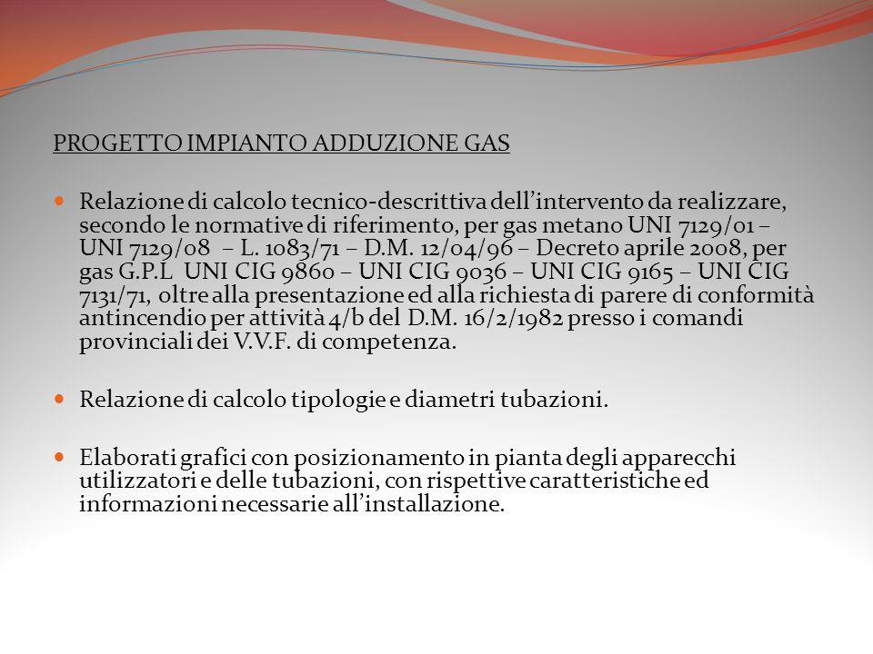 PROGETTO IMPIANTO ADDUZIONE GAS Relazione di calcolo tecnico-descrittiva dell'intervento da realizzare, secondo le normative di riferimento, per gas m