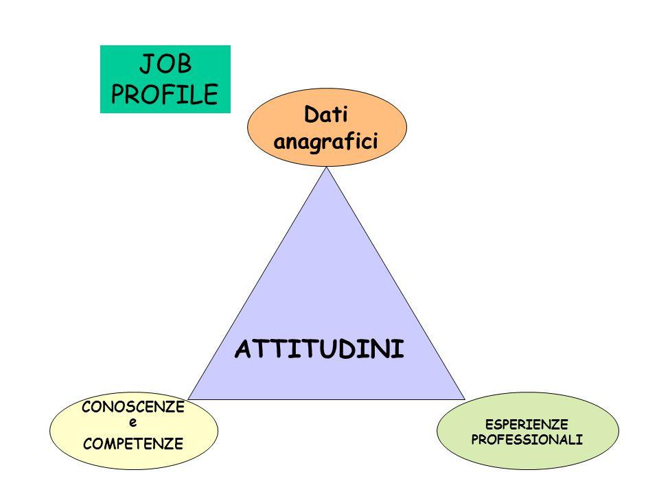 JOB PROFILE CONOSCENZE e COMPETENZE ESPERIENZE PROFESSIONALI ATTITUDINI Dati anagrafici