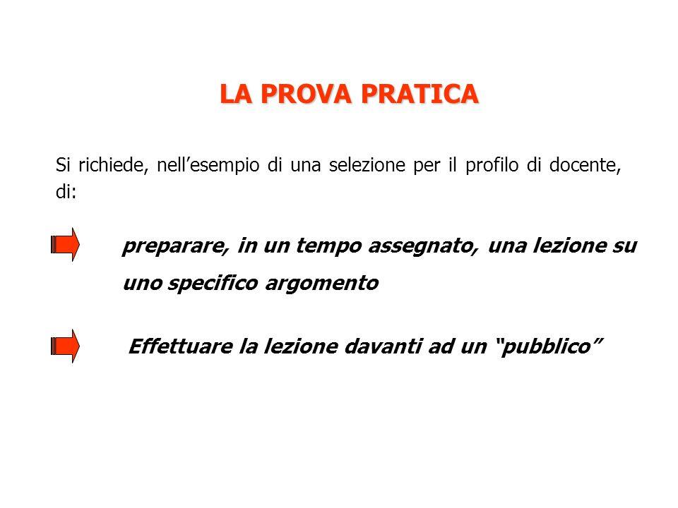 LA PROVA PRATICA Si richiede, nell'esempio di una selezione per il profilo di docente, di: preparare, in un tempo assegnato, una lezione su uno specif