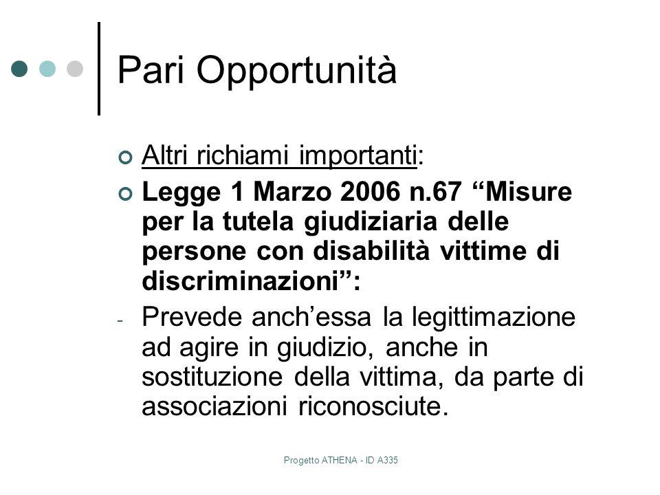 """Progetto ATHENA - ID A335 Pari Opportunità Altri richiami importanti: Legge 1 Marzo 2006 n.67 """"Misure per la tutela giudiziaria delle persone con disa"""