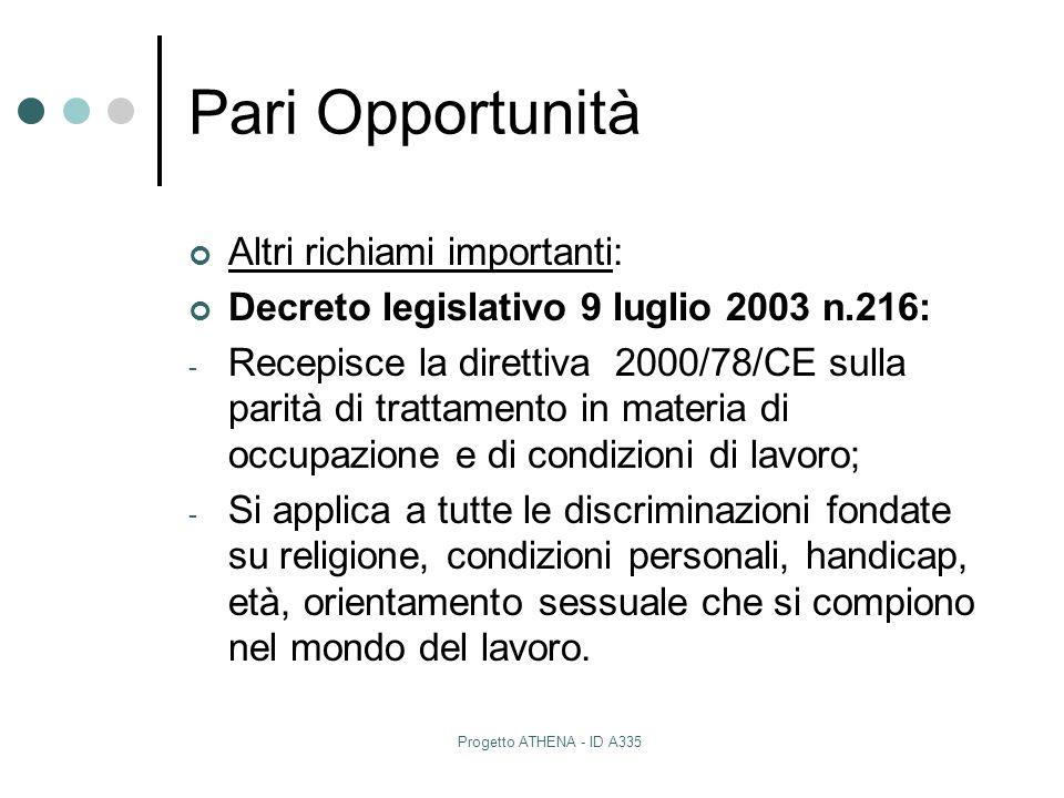 Progetto ATHENA - ID A335 Pari Opportunità Altri richiami importanti: Decreto legislativo 9 luglio 2003 n.216: - Recepisce la direttiva 2000/78/CE sul