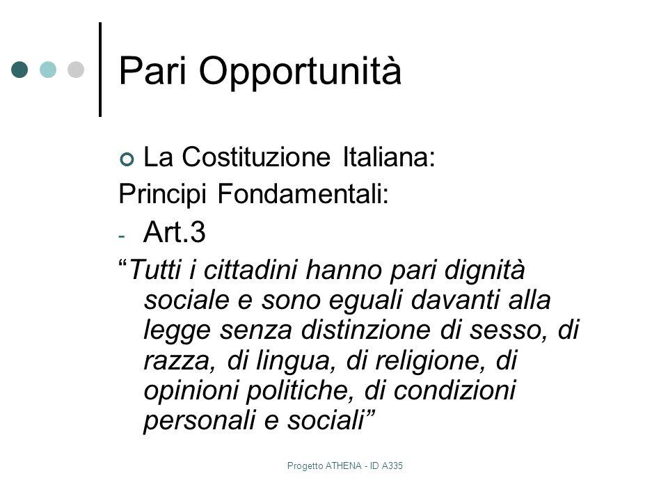 """Progetto ATHENA - ID A335 Pari Opportunità La Costituzione Italiana: Principi Fondamentali: - Art.3 """"Tutti i cittadini hanno pari dignità sociale e so"""