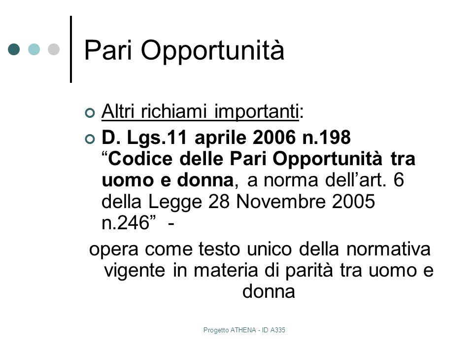 """Progetto ATHENA - ID A335 Pari Opportunità Altri richiami importanti: D. Lgs.11 aprile 2006 n.198 """"Codice delle Pari Opportunità tra uomo e donna, a n"""