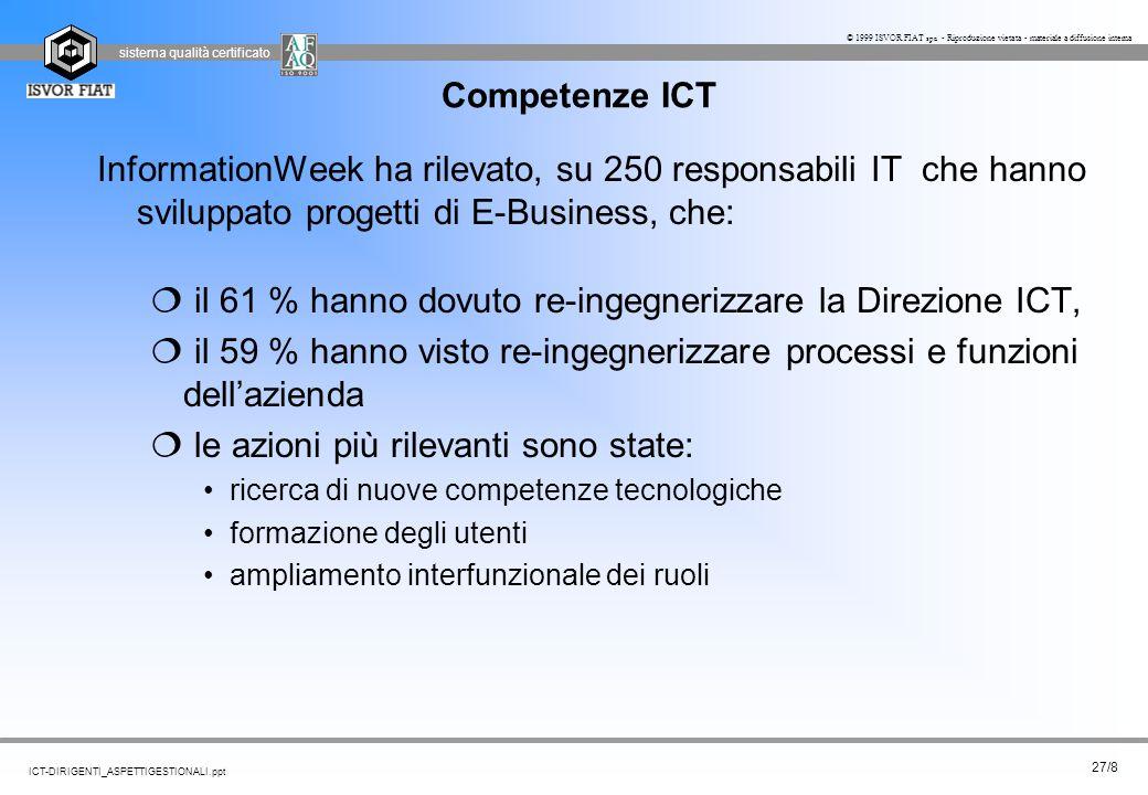 sistema qualità certificato 27/8 ICT-DIRIGENTI_ASPETTIGESTIONALI.ppt © 1999 ISVOR FIAT spa - Riproduzione vietata - materiale a diffusione interna Com