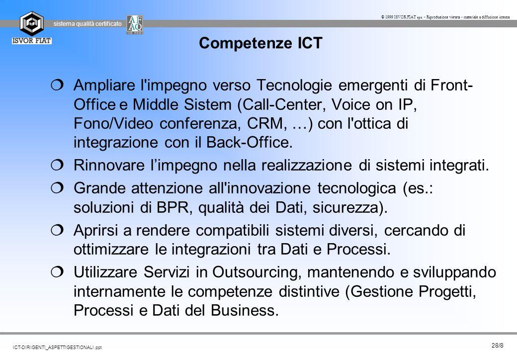 sistema qualità certificato 28/8 ICT-DIRIGENTI_ASPETTIGESTIONALI.ppt © 1999 ISVOR FIAT spa - Riproduzione vietata - materiale a diffusione interna Com