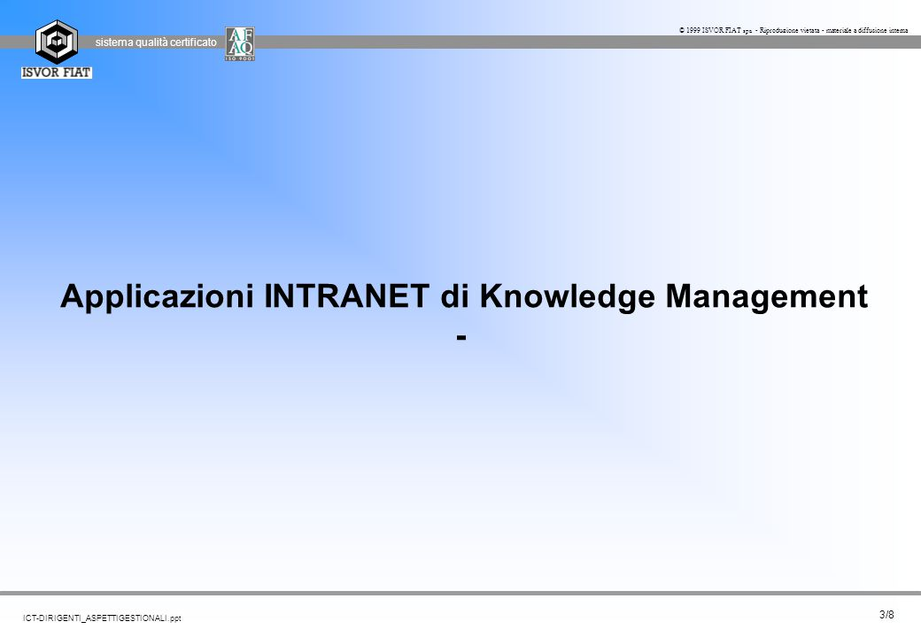 sistema qualità certificato 24/8 ICT-DIRIGENTI_ASPETTIGESTIONALI.ppt © 1999 ISVOR FIAT spa - Riproduzione vietata - materiale a diffusione interna Team aziendali-Ruoli Gestionali Competenze di BusinessCompetenze ICT Interfunzionalità ( cultura e linguaggi ) Content Mgmt Product Manager Developer Editor Community manager Designer Facilitator Service/Product Developer Executive Office CEO Marketing Marketing Analyst Alliance Manager Sales Sales manager Seller CRM CRM Assistant CRM Manager IT Administrator Outsourcing manager Developer team