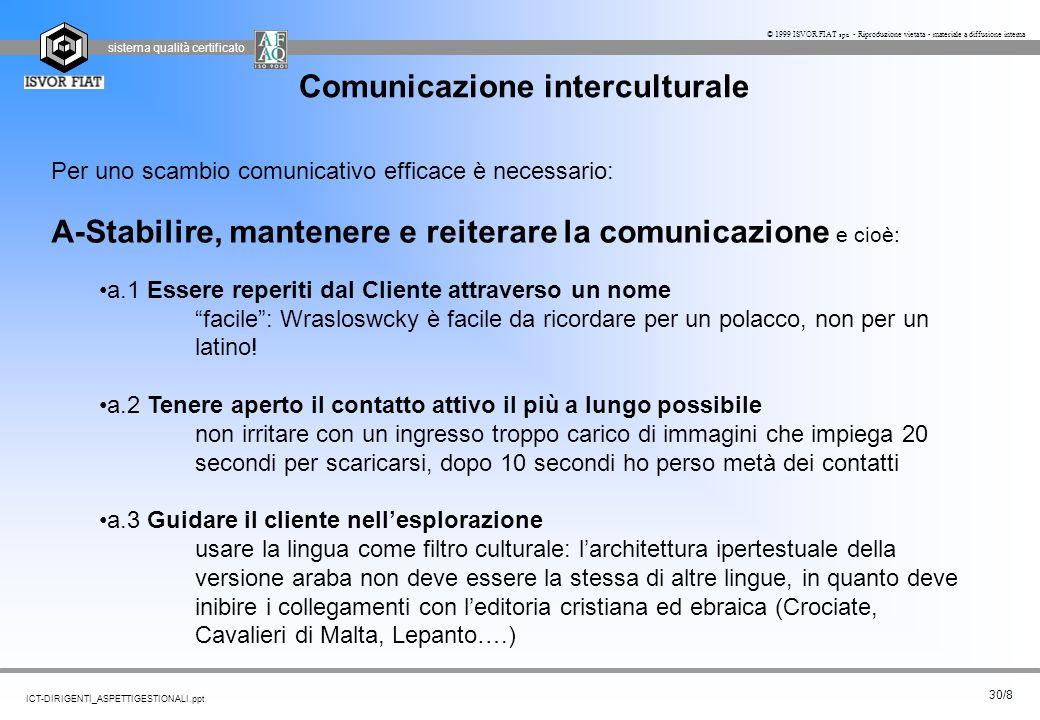 sistema qualità certificato 30/8 ICT-DIRIGENTI_ASPETTIGESTIONALI.ppt © 1999 ISVOR FIAT spa - Riproduzione vietata - materiale a diffusione interna Com