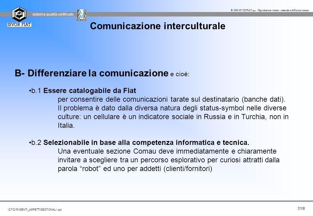 sistema qualità certificato 31/8 ICT-DIRIGENTI_ASPETTIGESTIONALI.ppt © 1999 ISVOR FIAT spa - Riproduzione vietata - materiale a diffusione interna Com