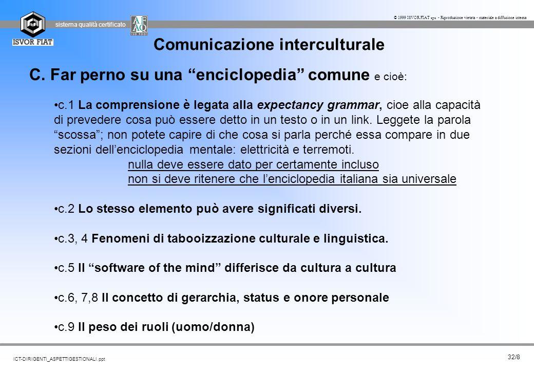 sistema qualità certificato 32/8 ICT-DIRIGENTI_ASPETTIGESTIONALI.ppt © 1999 ISVOR FIAT spa - Riproduzione vietata - materiale a diffusione interna Com