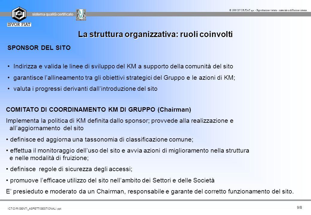 sistema qualità certificato 9/8 ICT-DIRIGENTI_ASPETTIGESTIONALI.ppt © 1999 ISVOR FIAT spa - Riproduzione vietata - materiale a diffusione interna SPON