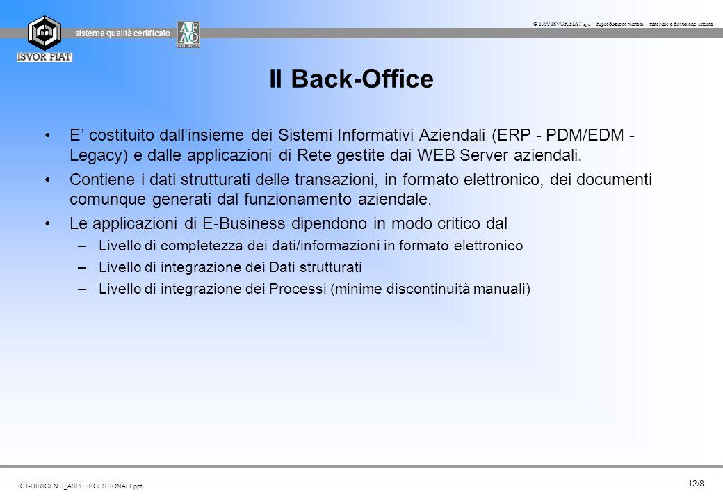 sistema qualità certificato 12/8 ICT-DIRIGENTI_ASPETTIGESTIONALI.ppt © 1999 ISVOR FIAT spa - Riproduzione vietata - materiale a diffusione interna Il