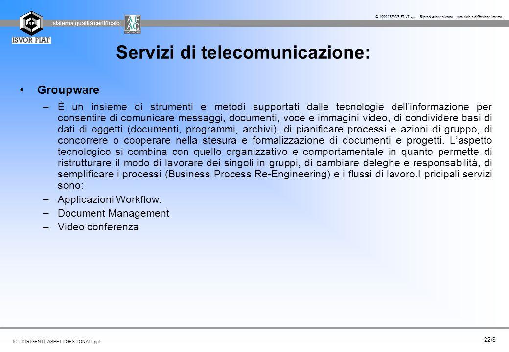 sistema qualità certificato 22/8 ICT-DIRIGENTI_ASPETTIGESTIONALI.ppt © 1999 ISVOR FIAT spa - Riproduzione vietata - materiale a diffusione interna Ser
