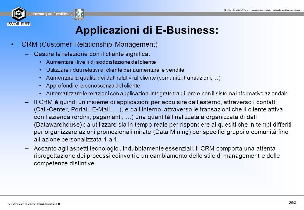 sistema qualità certificato 25/8 ICT-DIRIGENTI_ASPETTIGESTIONALI.ppt © 1999 ISVOR FIAT spa - Riproduzione vietata - materiale a diffusione interna App