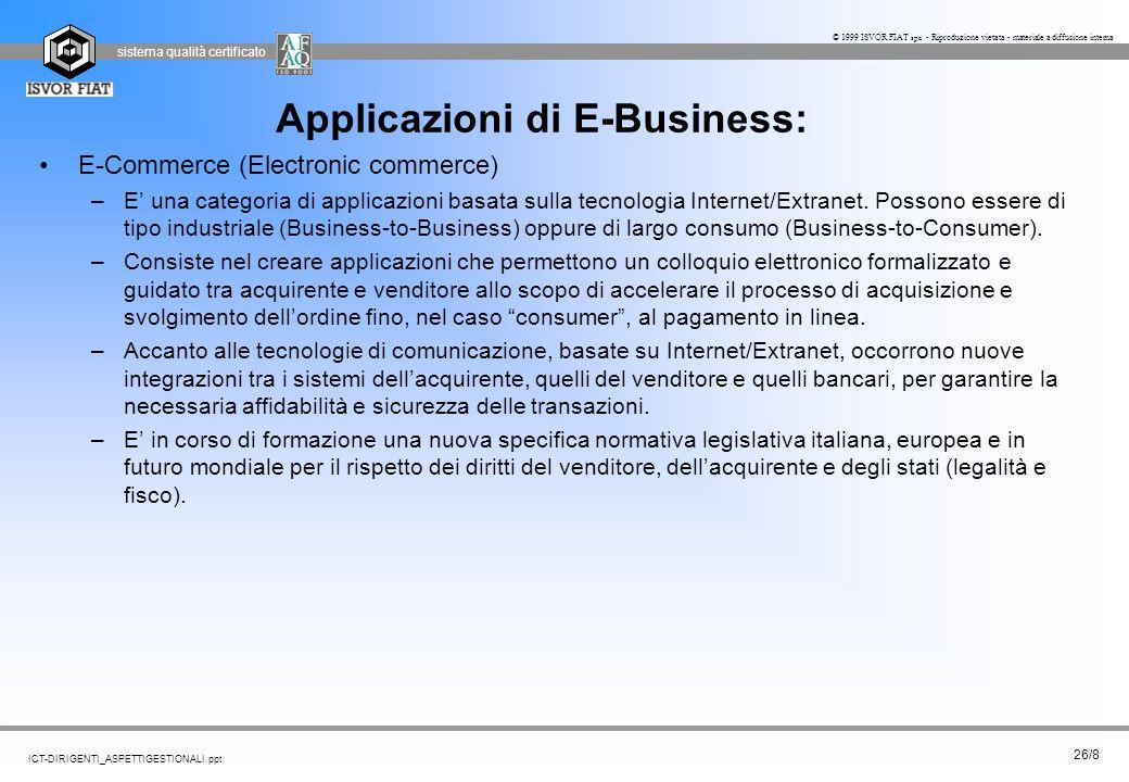 sistema qualità certificato 26/8 ICT-DIRIGENTI_ASPETTIGESTIONALI.ppt © 1999 ISVOR FIAT spa - Riproduzione vietata - materiale a diffusione interna App