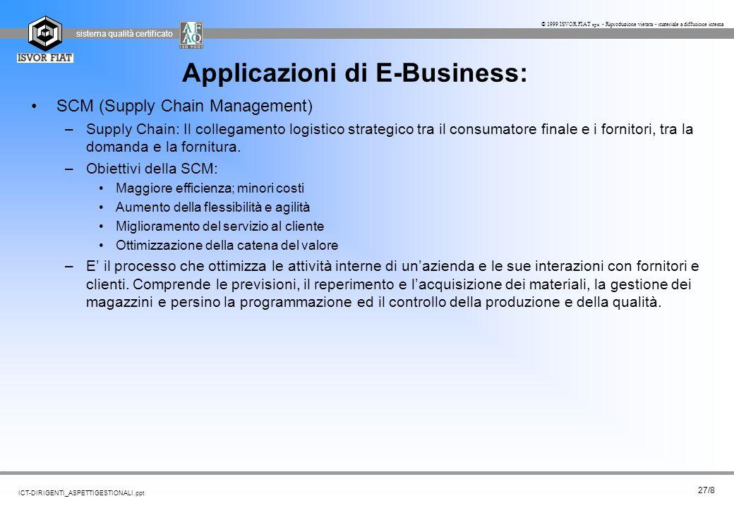 sistema qualità certificato 27/8 ICT-DIRIGENTI_ASPETTIGESTIONALI.ppt © 1999 ISVOR FIAT spa - Riproduzione vietata - materiale a diffusione interna App