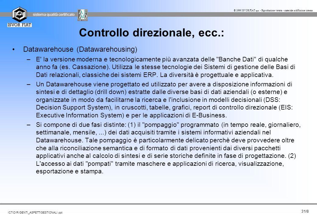sistema qualità certificato 31/8 ICT-DIRIGENTI_ASPETTIGESTIONALI.ppt © 1999 ISVOR FIAT spa - Riproduzione vietata - materiale a diffusione interna Con