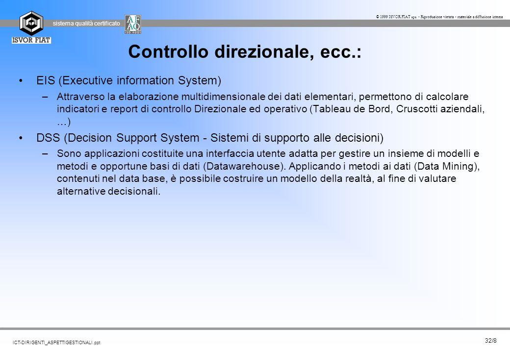 sistema qualità certificato 32/8 ICT-DIRIGENTI_ASPETTIGESTIONALI.ppt © 1999 ISVOR FIAT spa - Riproduzione vietata - materiale a diffusione interna Con