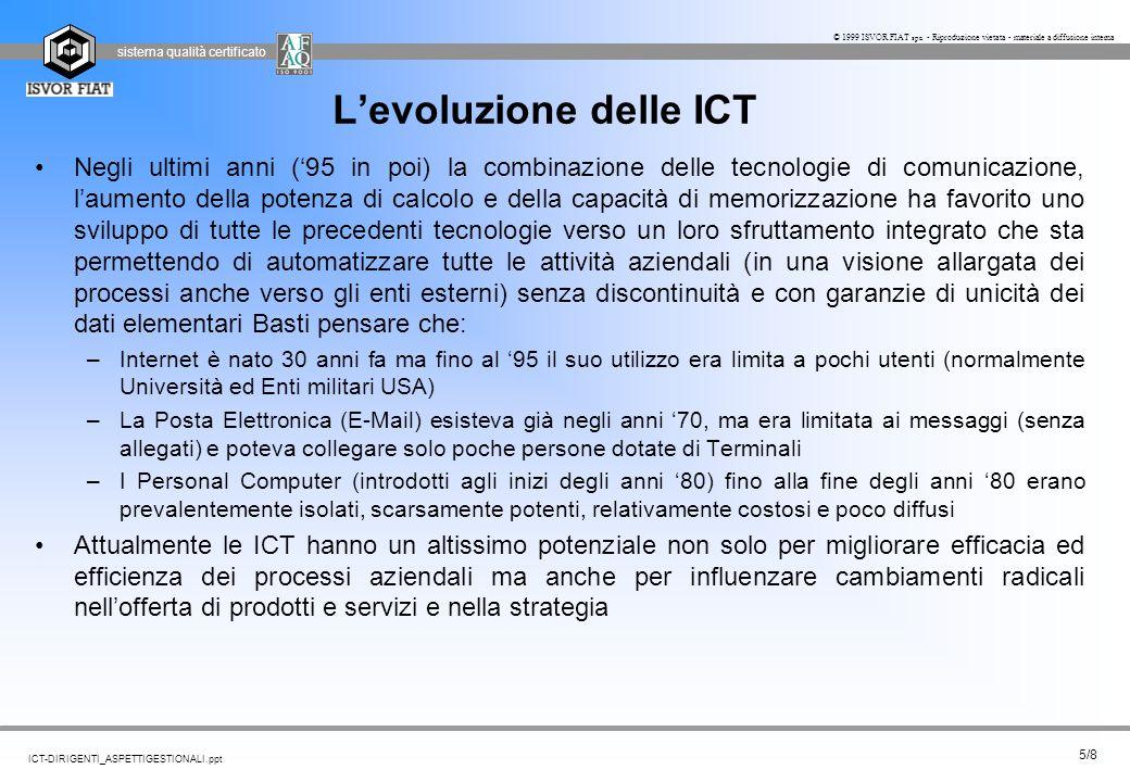 sistema qualità certificato 5/8 ICT-DIRIGENTI_ASPETTIGESTIONALI.ppt © 1999 ISVOR FIAT spa - Riproduzione vietata - materiale a diffusione interna L'ev