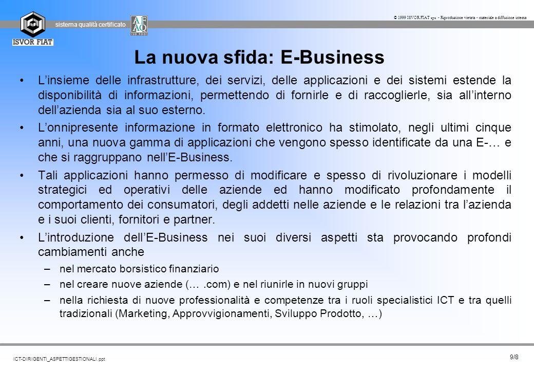 sistema qualità certificato 9/8 ICT-DIRIGENTI_ASPETTIGESTIONALI.ppt © 1999 ISVOR FIAT spa - Riproduzione vietata - materiale a diffusione interna La n