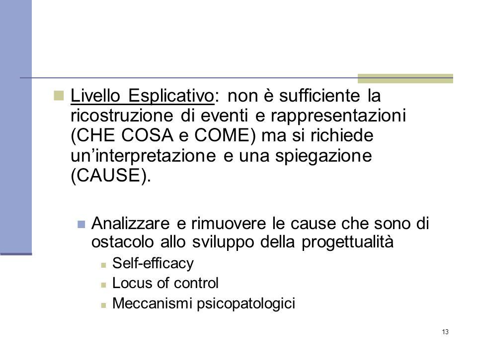 13 Livello Esplicativo: non è sufficiente la ricostruzione di eventi e rappresentazioni (CHE COSA e COME) ma si richiede un'interpretazione e una spiegazione (CAUSE).