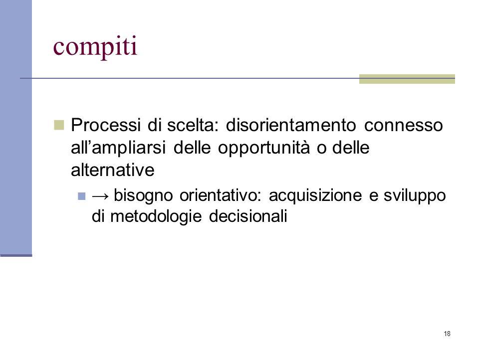 18 compiti Processi di scelta: disorientamento connesso all'ampliarsi delle opportunità o delle alternative → bisogno orientativo: acquisizione e sviluppo di metodologie decisionali