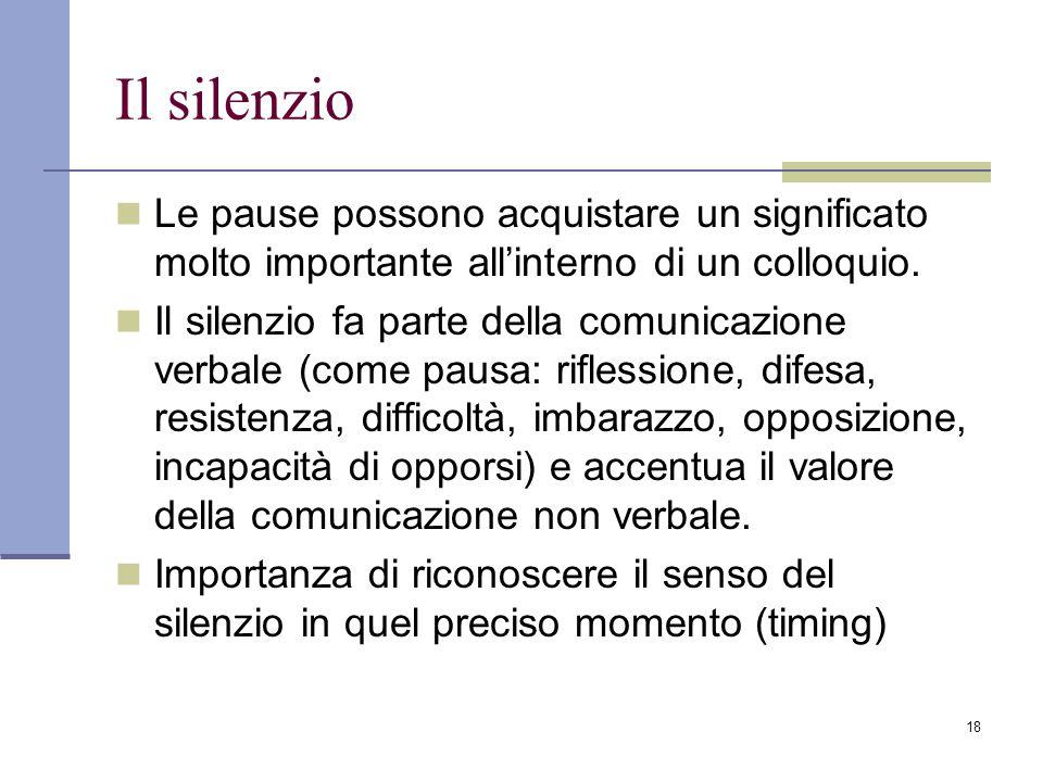 18 Il silenzio Le pause possono acquistare un significato molto importante all'interno di un colloquio. Il silenzio fa parte della comunicazione verba