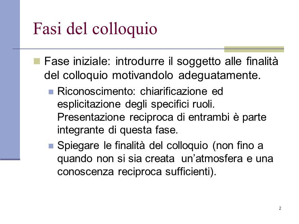 2 Fasi del colloquio Fase iniziale: introdurre il soggetto alle finalità del colloquio motivandolo adeguatamente. Riconoscimento: chiarificazione ed e