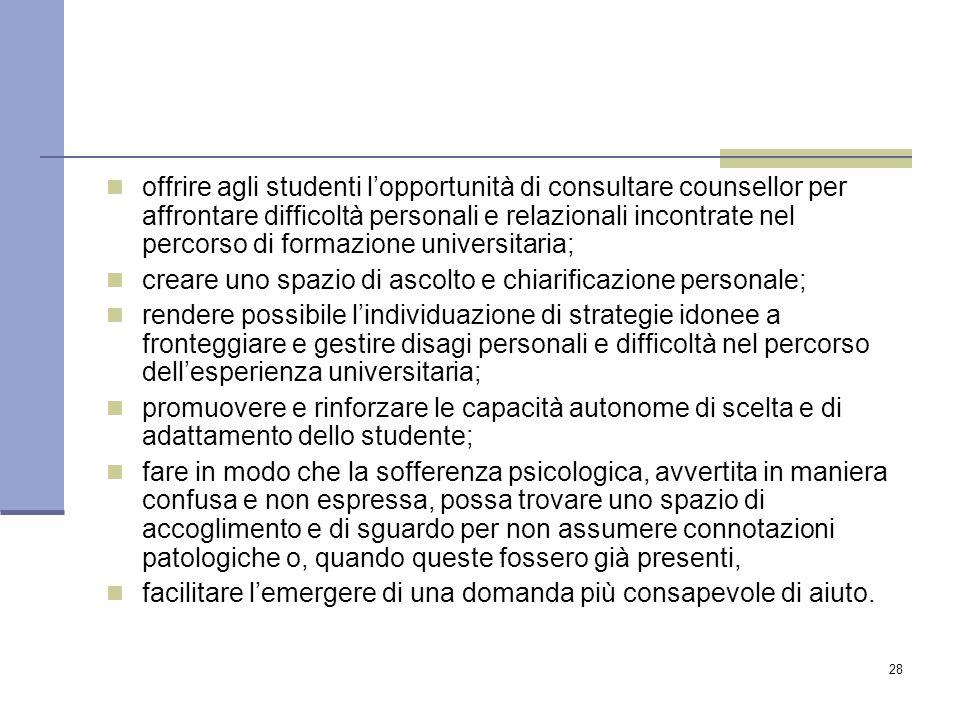 28 offrire agli studenti l'opportunità di consultare counsellor per affrontare difficoltà personali e relazionali incontrate nel percorso di formazion