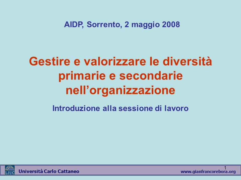 www.gianfrancorebora.org Università Carlo Cattaneo 1 Gestire e valorizzare le diversità primarie e secondarie nell'organizzazione Introduzione alla sessione di lavoro AIDP, Sorrento, 2 maggio 2008