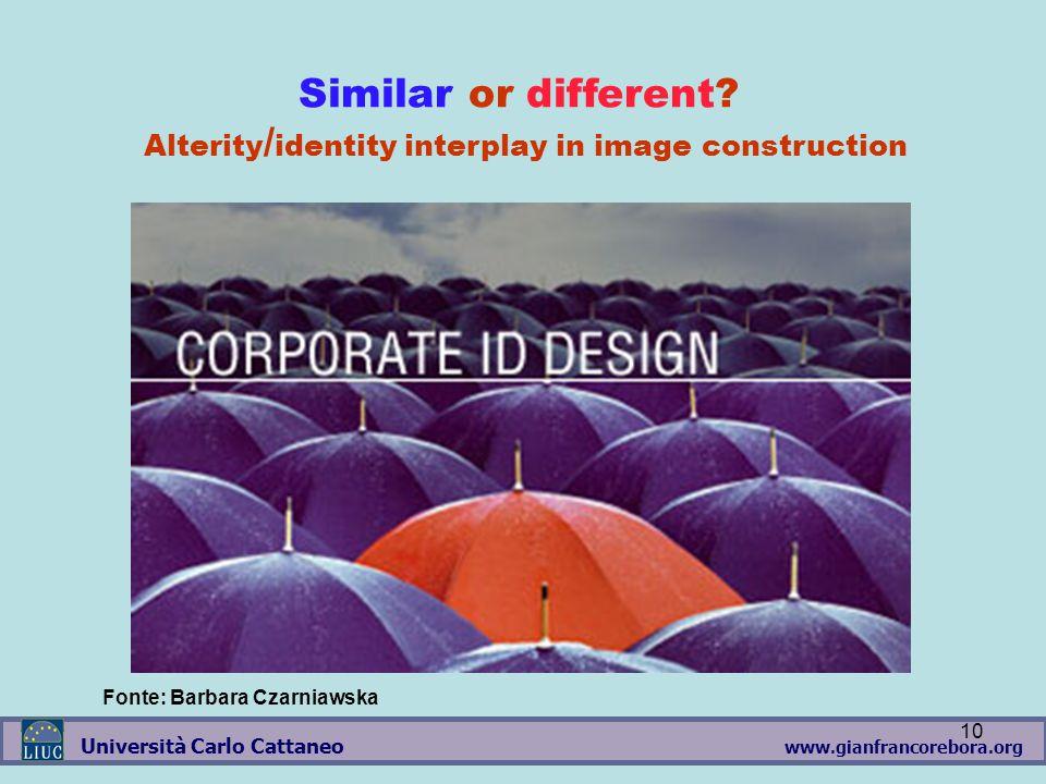www.gianfrancorebora.org Università Carlo Cattaneo 10 Similar or different? Alterity / identity interplay in image construction Fonte: Barbara Czarnia