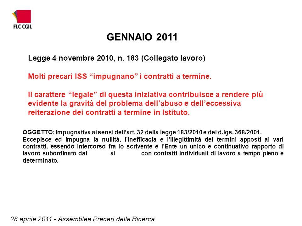 OGGETTO: Impugnativa ai sensi dell'art. 32 della legge 183/2010 e del d.lgs.
