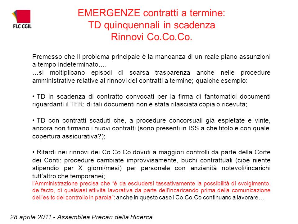 EMERGENZE contratti a termine: TD quinquennali in scadenza Rinnovi Co.Co.Co.