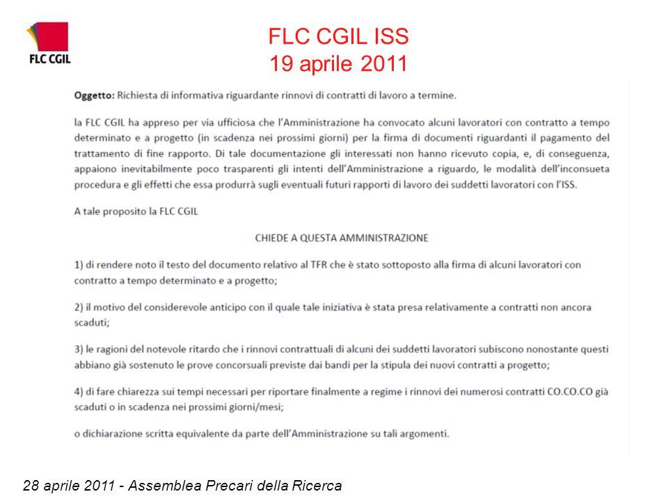 FLC CGIL ISS 19 aprile 2011 28 aprile 2011 - Assemblea Precari della Ricerca