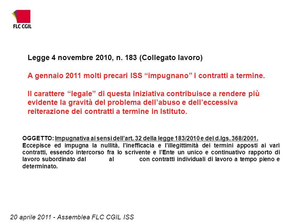 OGGETTO: Impugnativa ai sensi dell'art. 32 della legge 183/2010 e del d.lgs. 368/2001. Eccepisce ed impugna la nullità, l'inefficacia e l'illegittimit