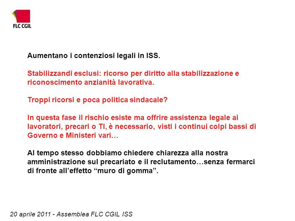 20 aprile 2011 - Assemblea FLC CGIL ISS Aumentano i contenziosi legali in ISS. Stabilizzandi esclusi: ricorso per diritto alla stabilizzazione e ricon