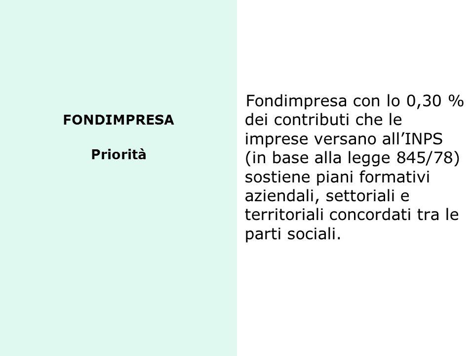 FONDIMPRESA Priorità Fondimpresa con lo 0,30 % dei contributi che le imprese versano all'INPS (in base alla legge 845/78) sostiene piani formativi azi