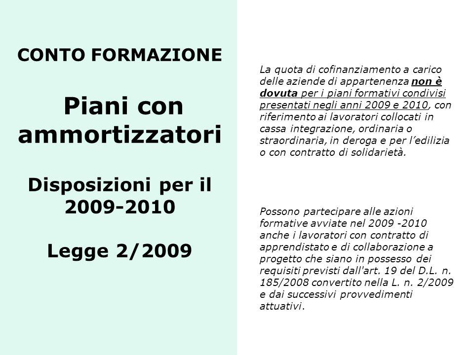 CONTO FORMAZIONE Piani con ammortizzatori Disposizioni per il 2009-2010 Legge 2/2009 La quota di cofinanziamento a carico delle aziende di appartenenz