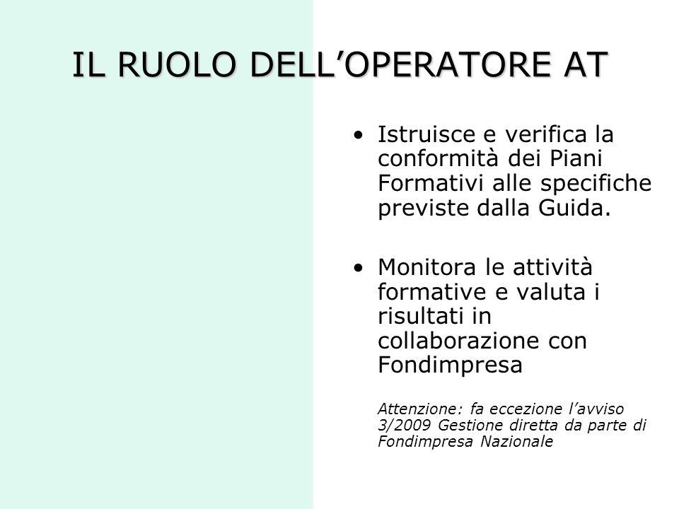 IL RUOLO DELL'OPERATORE AT Istruisce e verifica la conformità dei Piani Formativi alle specifiche previste dalla Guida. Monitora le attività formative