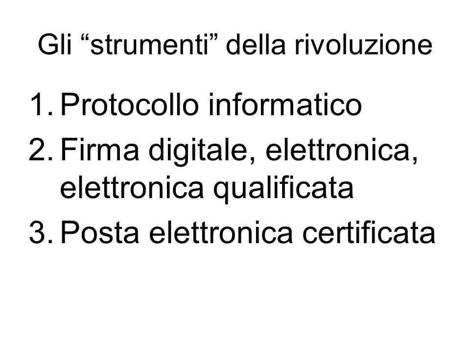 Gli strumenti della rivoluzione 1.Protocollo informatico 2.Firma digitale, elettronica, elettronica qualificata 3.Posta elettronica certificata