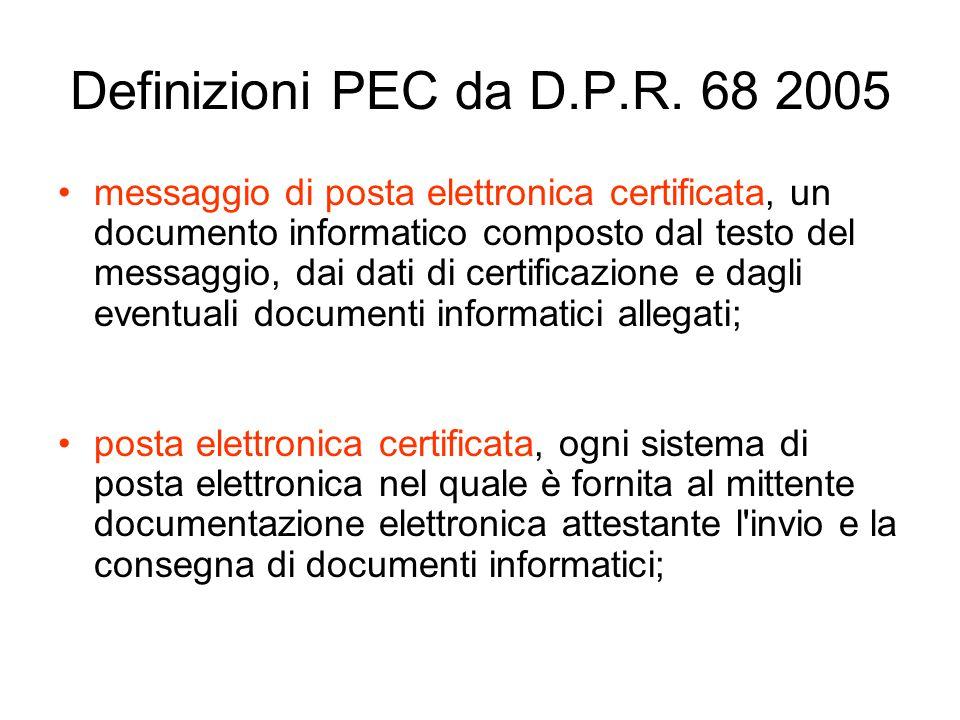 Definizioni PEC da D.P.R.