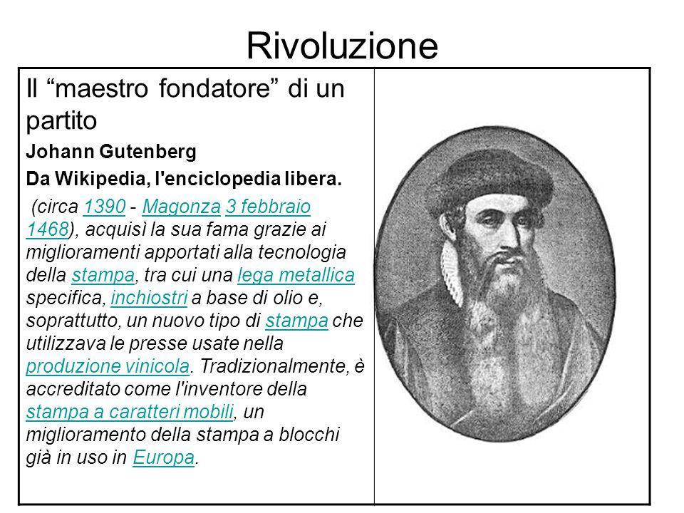 Rivoluzione Il maestro fondatore di un partito Johann Gutenberg Da Wikipedia, l enciclopedia libera.