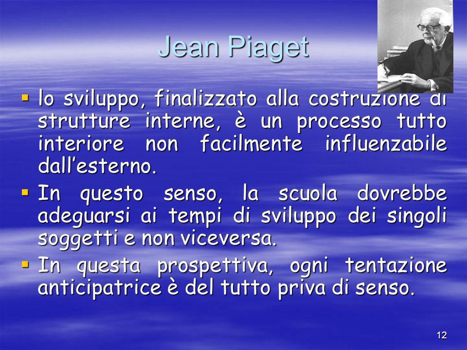 12 Jean Piaget  lo sviluppo, finalizzato alla costruzione di strutture interne, è un processo tutto interiore non facilmente influenzabile dall'esterno.