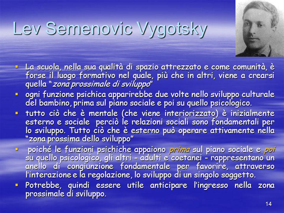 14 Lev Semenovic Vygotsky  La scuola, nella sua qualità di spazio attrezzato e come comunità, è forse il luogo formativo nel quale, più che in altri, viene a crearsi quella zona prossimale di sviluppo  ogni funzione psichica apparirebbe due volte nello sviluppo culturale del bambino, prima sul piano sociale e poi su quello psicologico.
