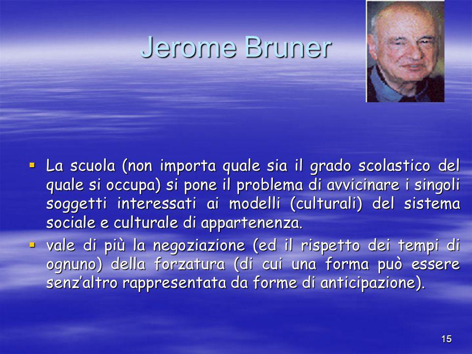 15 Jerome Bruner  La scuola (non importa quale sia il grado scolastico del quale si occupa) si pone il problema di avvicinare i singoli soggetti interessati ai modelli (culturali) del sistema sociale e culturale di appartenenza.