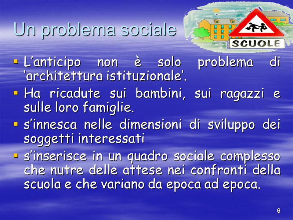 6 Un problema sociale  L'anticipo non è solo problema di 'architettura istituzionale'.