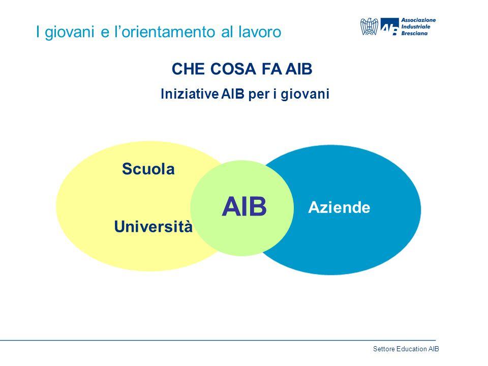 I giovani e l'orientamento al lavoro CHE COSA FA AIB Iniziative AIB per i giovani Scuola Università Aziende AIB Settore Education AIB