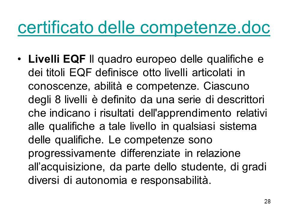 28 certificato delle competenze.doc Livelli EQF Il quadro europeo delle qualifiche e dei titoli EQF definisce otto livelli articolati in conoscenze, abilità e competenze.
