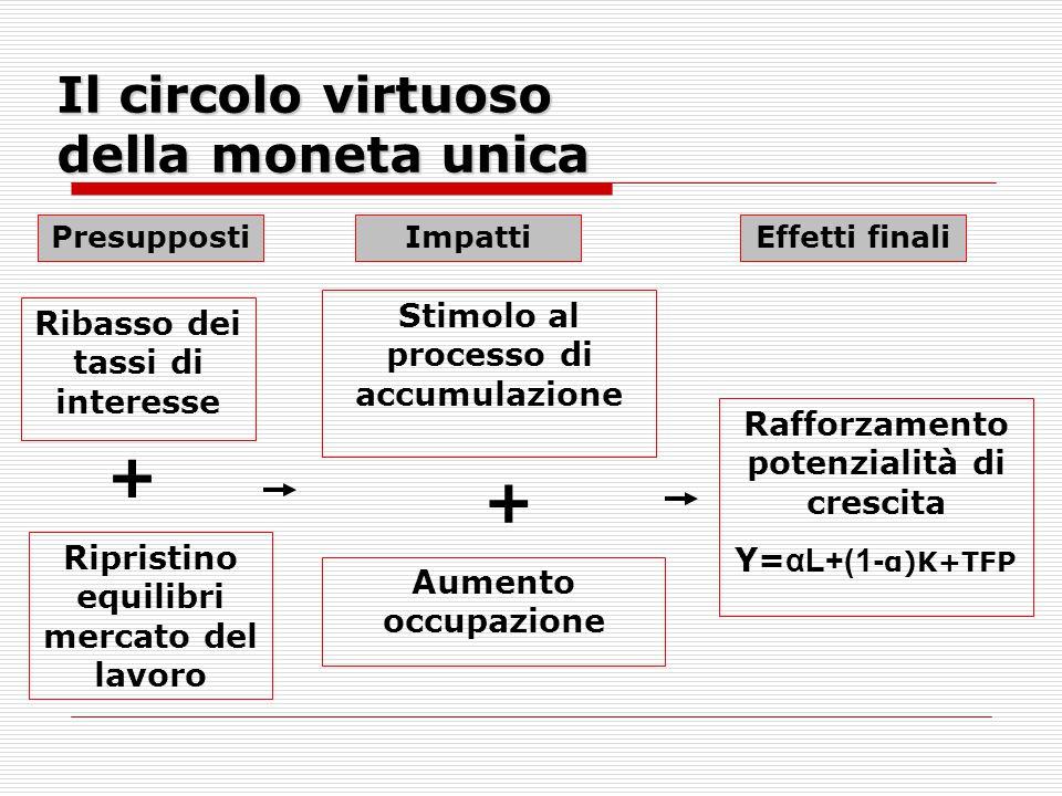 Il circolo virtuoso della moneta unica Ribasso dei tassi di interesse Stimolo al processo di accumulazione Ripristino equilibri mercato del lavoro Aumento occupazione Rafforzamento potenzialità di crescita Υ= αL+(1- α)K+TFP + + PresuppostiImpattiEffetti finali