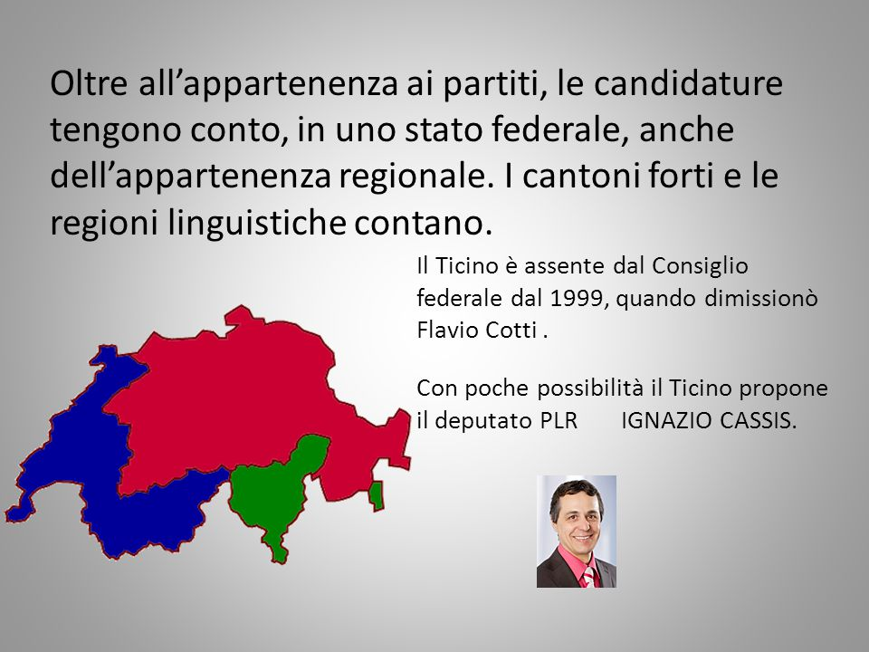 Oltre all'appartenenza ai partiti, le candidature tengono conto, in uno stato federale, anche dell'appartenenza regionale.