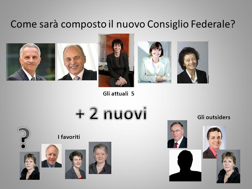 Come sarà composto il nuovo Consiglio Federale I favoriti Gli outsiders Gli attuali 5